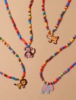 Stretch bead Necklace with Animal charm (Code 3574)
